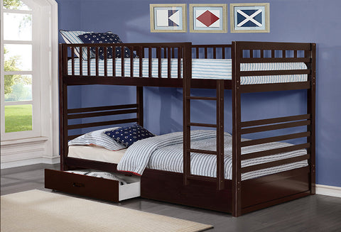 B 110 E - Single / Single Bunk Bed with Drawers- Espresso