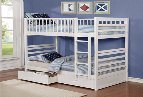 B 110 W - Single / Single Bunk Bed with Drawers-White