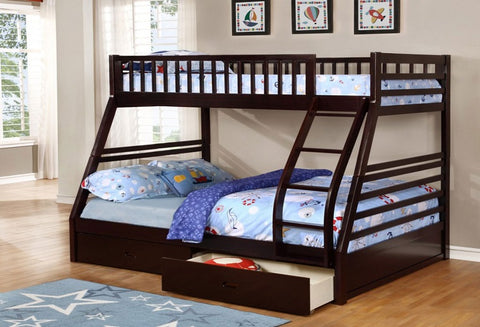 B 117 E - Single / Double - Bunk Bed with two Drawers- Espresso - Lit Superposé