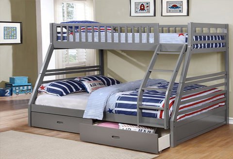 B 117 G - Grey Double / Single Bunk Bed with Drawers