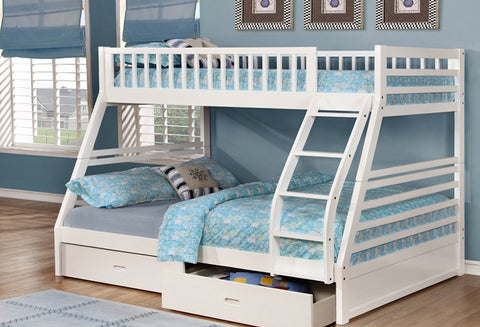 B 117 W - Single / Double - Bunk Bed - White - Lit Superposé