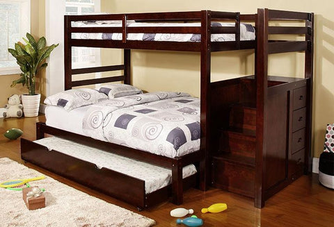 B 119 - Single / Double - Staircase Bunk Bed - Espresso - Lit Superposé