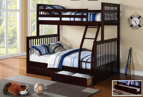 B 122 E - Single / Double - Bunk Bed - Espresso - Lit Superposé