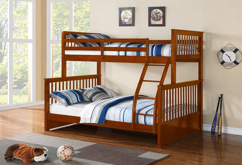 B 122 H - Single / Double Mission Bunk Bed - Honey