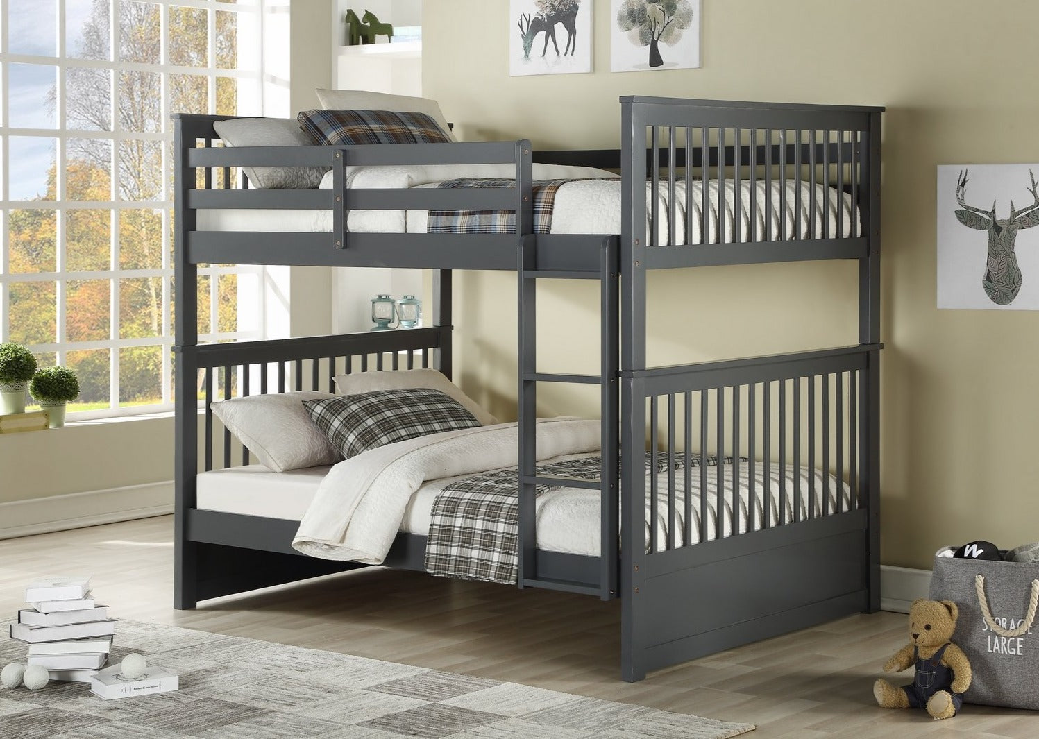 B 123G - Full / Full Mission Bunk Bed - Grey