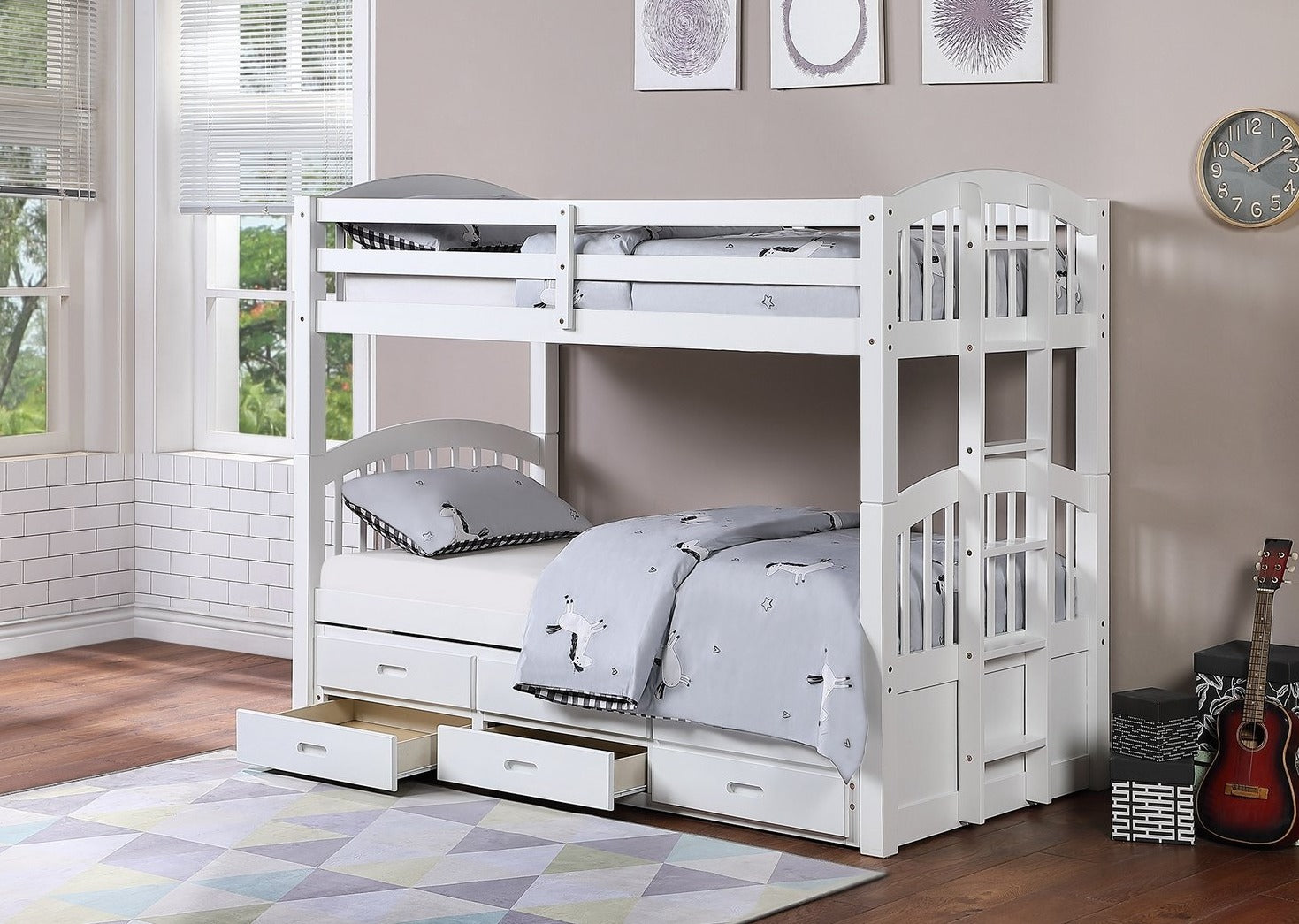B 1842 - Single / Single - Bunk Bed - White - Lit Superposé