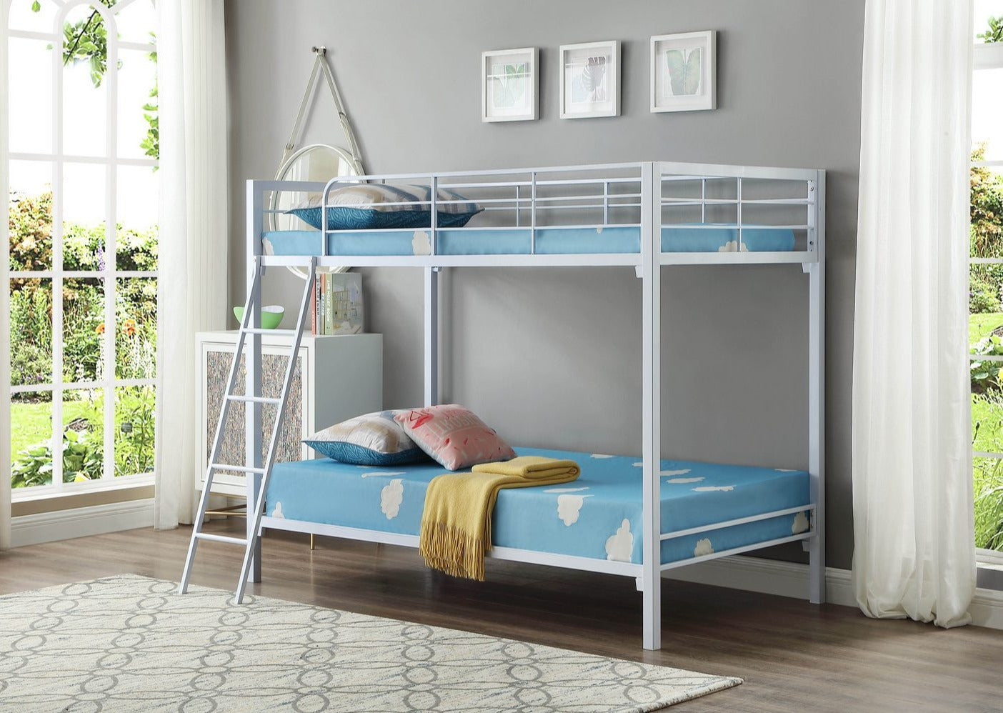 B 531 W - Single / Single - Bunk Bed - White - Lit Superposé