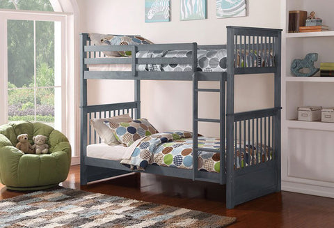 B 121 G - Single / Single - Bunk Bed - Grey - Lit Superposé