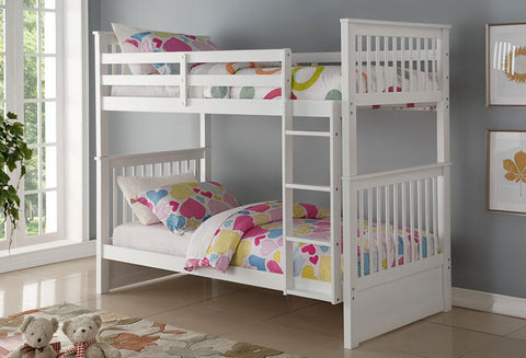 B 121 W - Single / Single - Bunk Bed - White - Lit Superposé