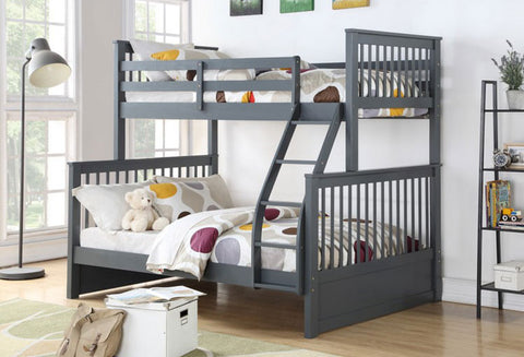 B 122 G - Single / Double - Bunk Bed - Grey - Lit Superposé
