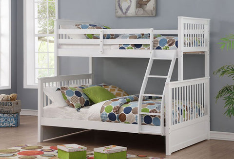 B 122 W - Single / Double Mission Bunk Bed - White