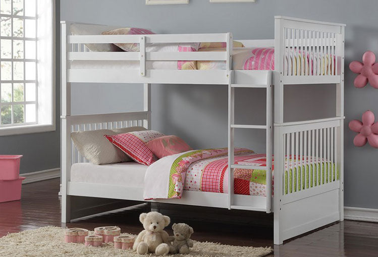B 123W - Full / Full Mission Bunk Bed - White