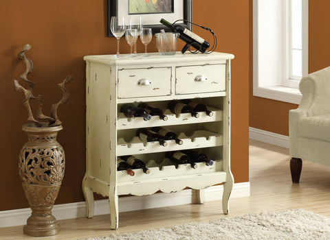 "WINE RACK - 37""H / ANTIQUE WHITE VENEER TRADITIONAL STYLE"