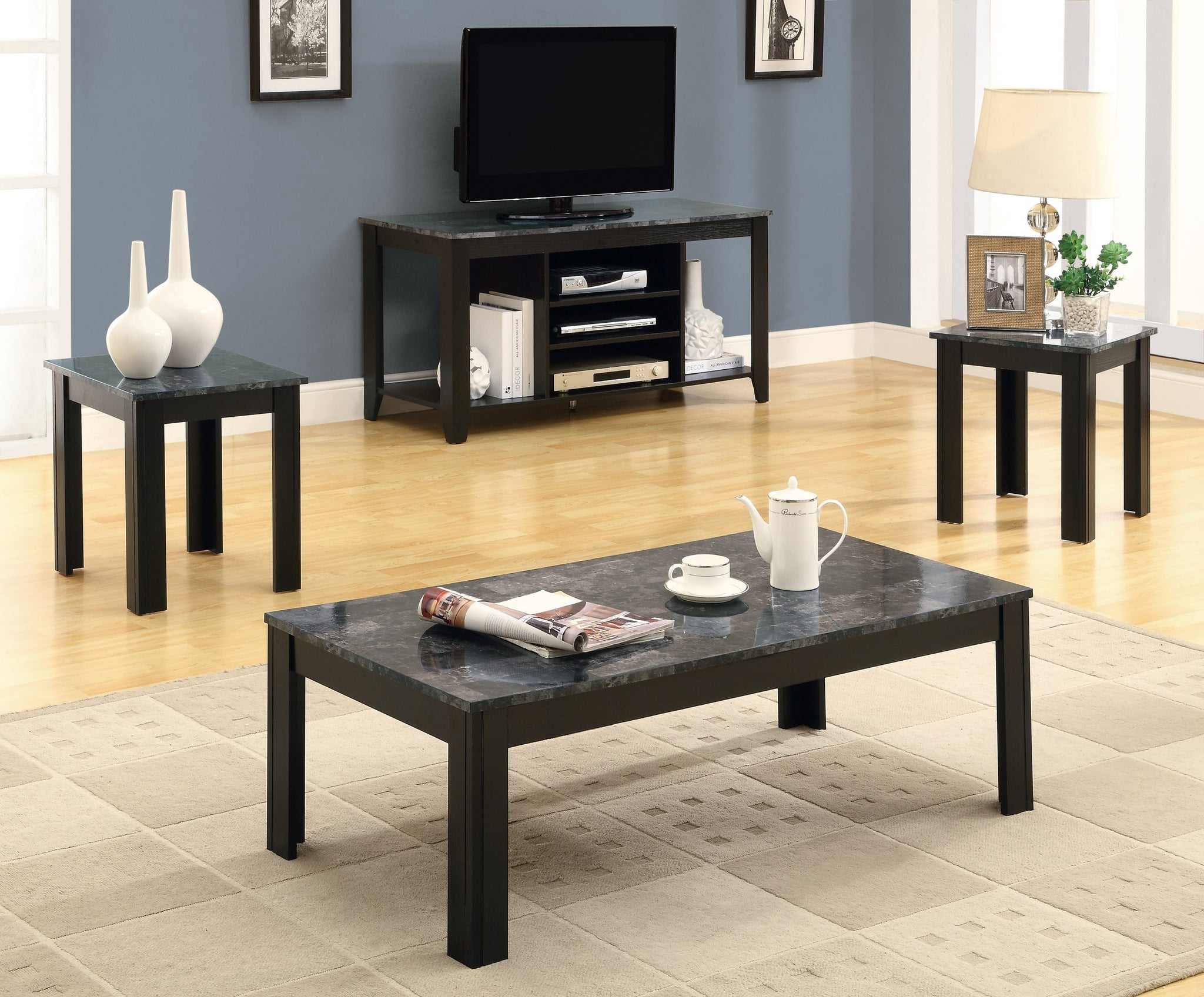 I 7843P-TABLE SET - 3PCS SET / BLACK / GREY MARBLE-LOOK TOP