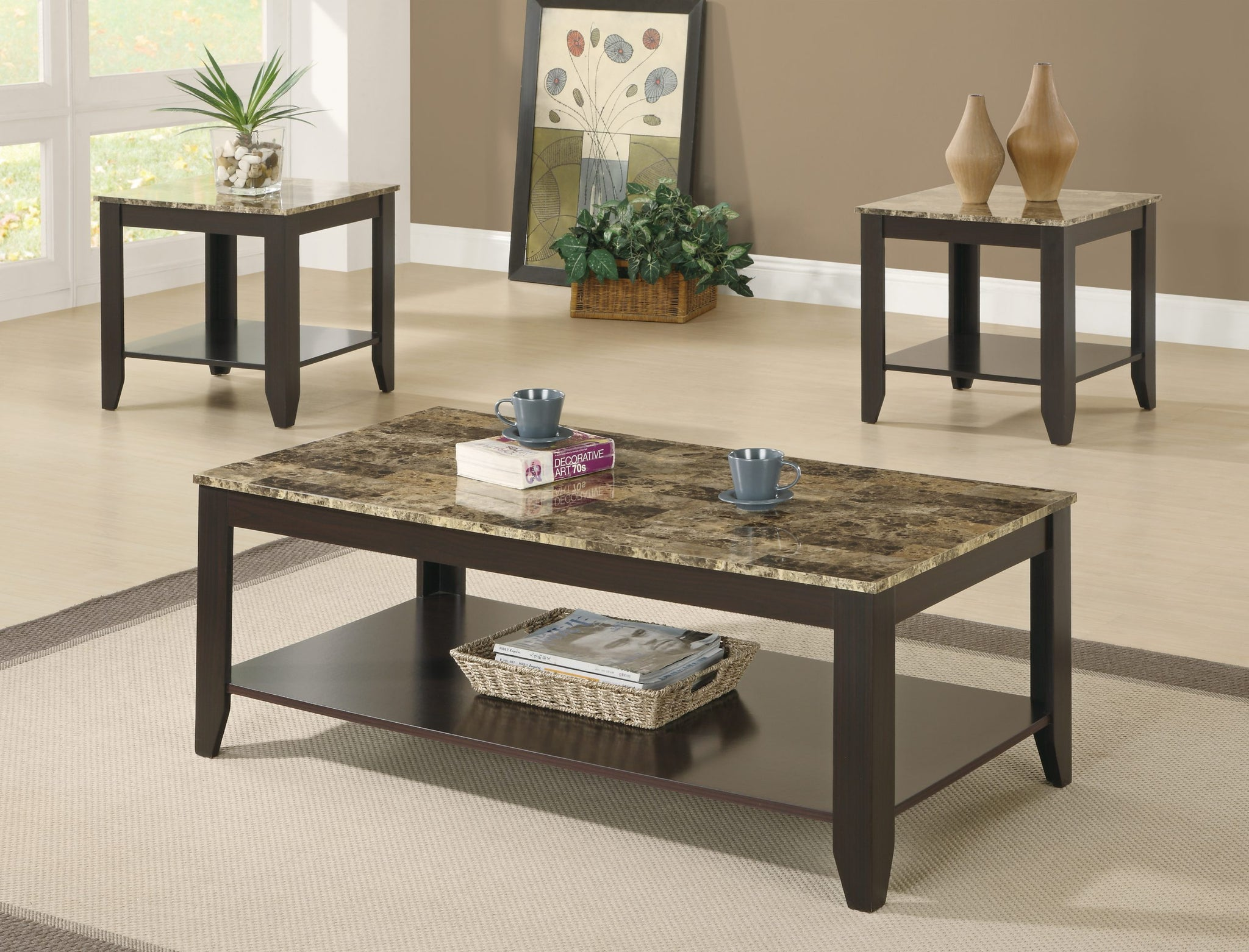 I 7984P- 3 PCS TABLE SET/ CAPPUCCINO / MARBLE-LOOK TOP
