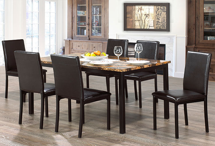 IF 1017 - 7pc Dining Set - Black Legs