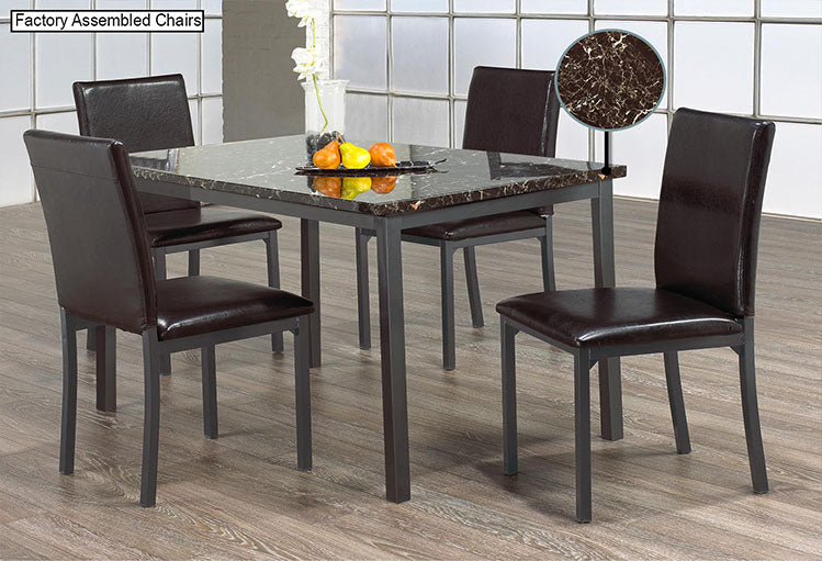 IF 1036 - 5pc Dining Set - Marble Top