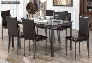 IF 1037 - 7pc Dining Set - Marble Top