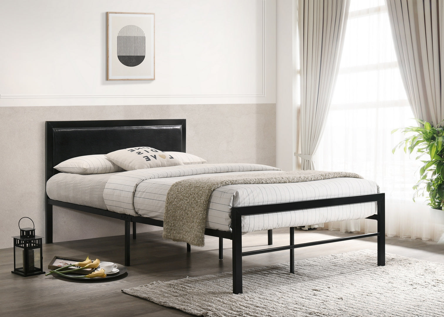 IF 142B - Black Metal Bed - Double