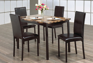 IF 1520 - Dining Set 5pc - Light Brown Marble