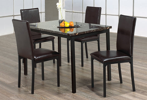 IF 1522 - Dining Set 5pc - Dark Brown Marble