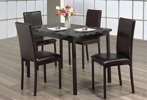 IF 1524 - Dining Set 5pc - Dark Grey Marble