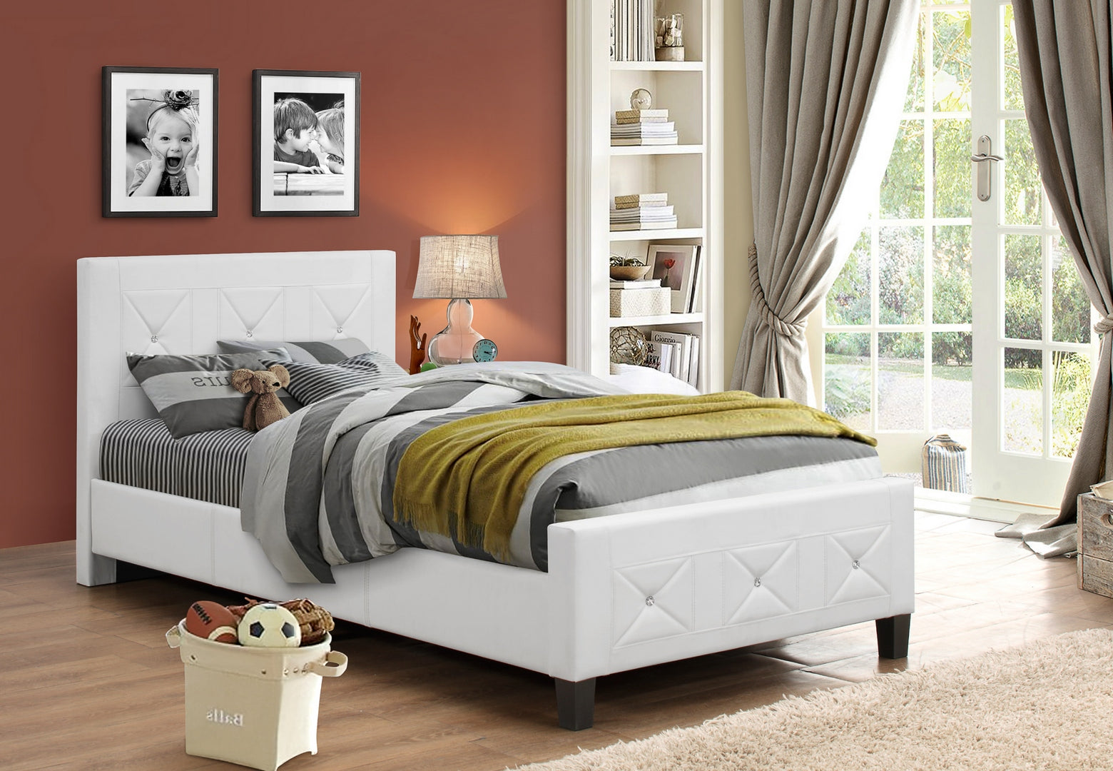 IF 178 - White Bed w/ Jewels - Queen