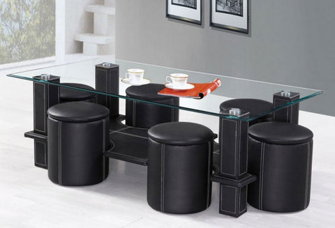 IF 2056 - Coffee Table Set With 6 Stools