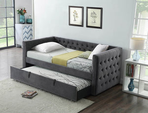 IF 305 - Single / Single Day Bed with Trundle - Grey Velvet