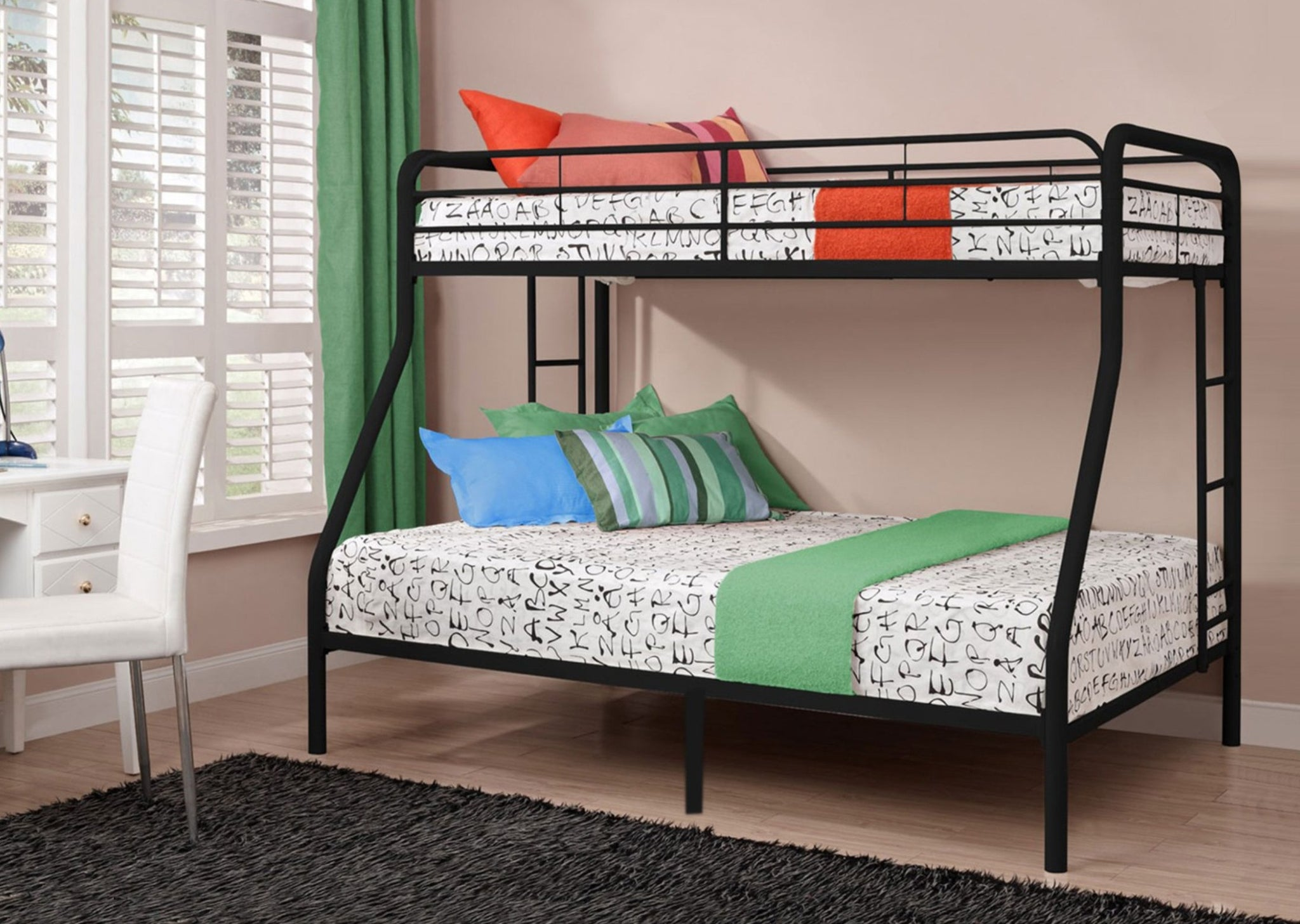 B 501B - Single / Double Bunk Bed - Black Metal