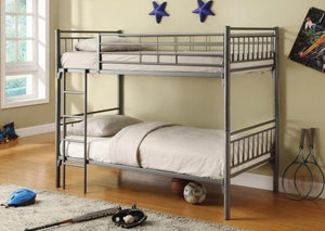 B 512G - Single / Single Bunk Bed - Grey Metal