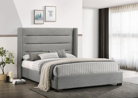 IF 5241 - Grey Fabric Bed With Diamond Pattern - Queen / Grand Lit