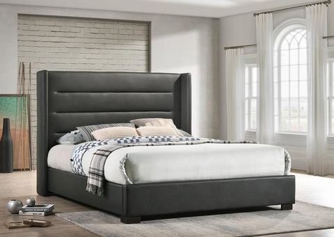 IF 5242 - Grey PU Wing Bed with Horizontal Tufted Panels - King size / Tres Grand Lit