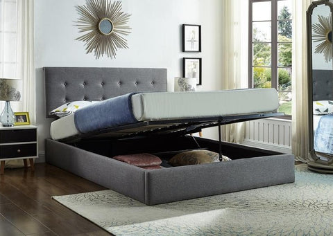 IF 5445 - Grey Fabric Storage Bed - Lit Gris