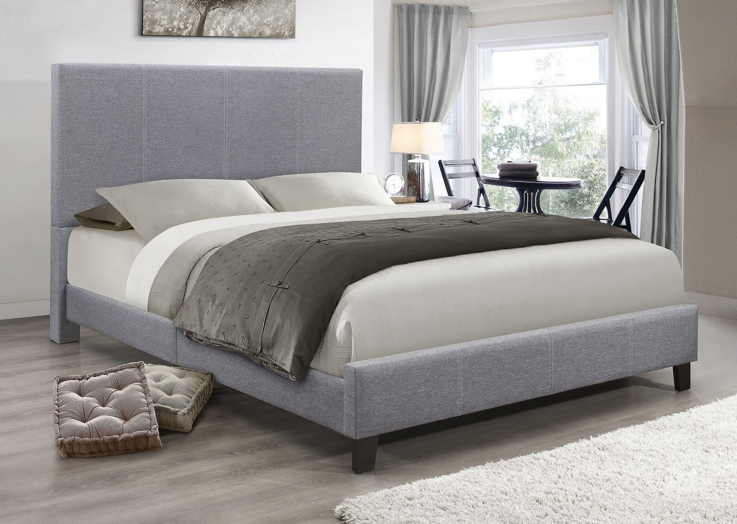 IF 5474 - Grey Fabric Bed -  Lit Gris