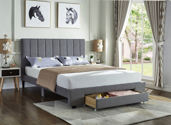 IF 5483 - Grey Fabric Bed - Lit Gris