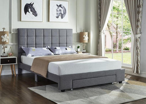 IF 5493 - Grey Fabric Bed - Lit Gris