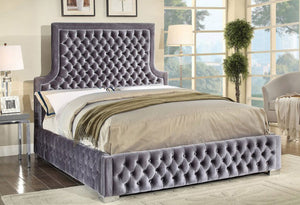IF 5600 - Platform Bed - Grey Velvet