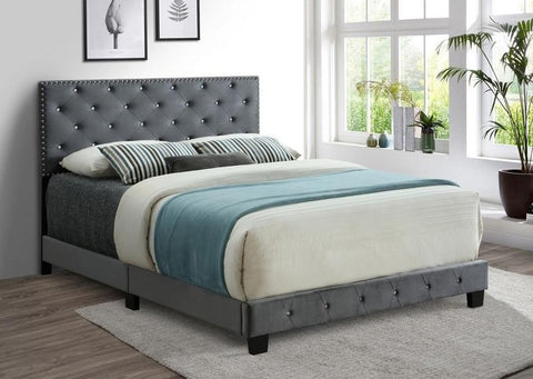 IF 5650 - Grey Velvet Bed - Lit Gris