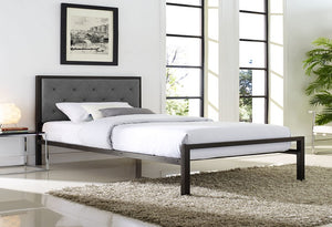IF 5700 - Bed - Black Metal with Grey Fabric