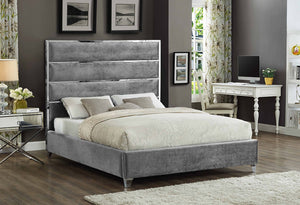 IF 5880 - Black Velvet Bed Featuring a Chrome Channel Design