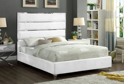 IF 5882 - White Velvet Bed Featuring a Chrome Channel Design