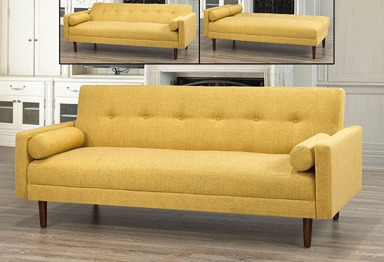 IF 8064 - Sofa Bed - Yellow with 2 Pillows