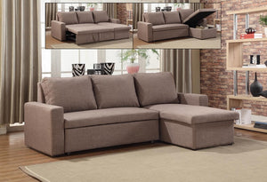 IF 9001 - Sectional Sofa Bed - Brown Fabric
