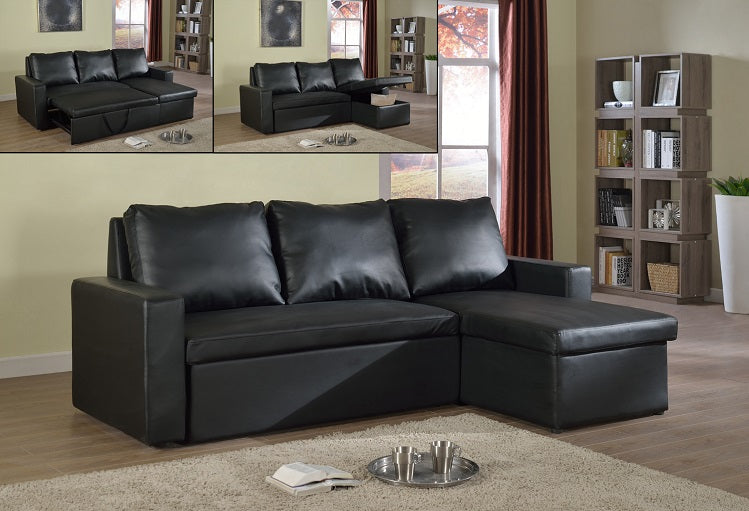 IF 9002 - Sectional Sofa Bed - Black Bonded Leather