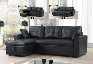IF 9005 - Sectional Sofa Bed - Black