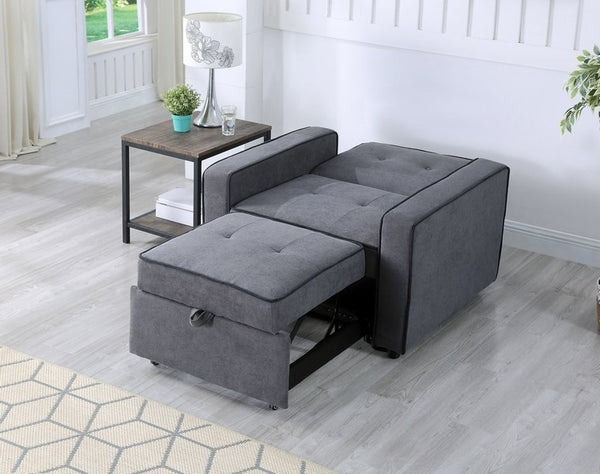 IF 9050 - Chair Sofa Bed - Grey Fabric - Chaise de Canapé Lit Gris