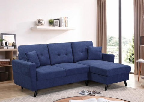 IF 9099 - Blue Fabric Reversible Sofa Bed - Canapé Lit Réversible Bleu