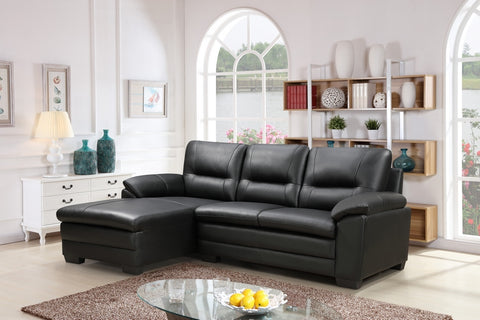 IF 9250 - LHF Black Top Grain Leather / Match Sofa - Canapé LHF en Cuir de Grain Supérieur Noir