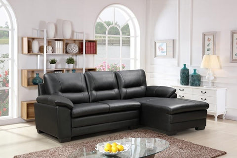 IF 9251 - RHF Black Leather Sofa